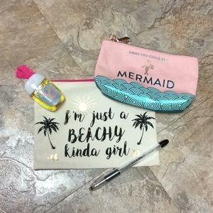 Handbags - 2 beach themed makeup bags EUC!